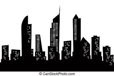 Cartoon skyline silhouette of the city of Gold Coast, Australia.