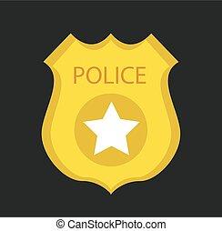 Cartoon gold police badge vector