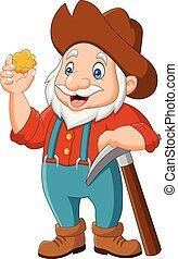 Cartoon gold prospector isolated on white background