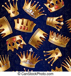 Cartoon Gold Royal Crowns Pattern