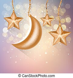 Cartoon gold stars in the sky. Vector EPS10.