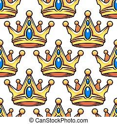 Cartoon golden crowns seamless pattern