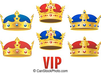 Cartoon golden crowns with jewels and velvet - Gold royal...