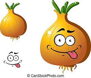 Cartoon golden onion vegetable