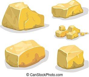 Cartoon golden ore in isometric style. Set of different golden boulders. Vector illustration.