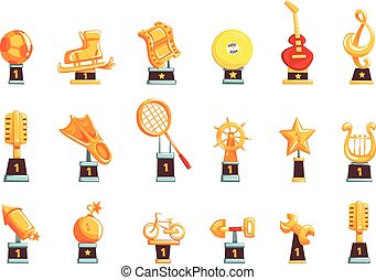 Cartoon golden trophy cups, awards and achievements set of vector Illustrations