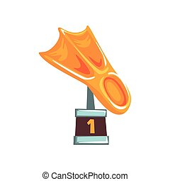 Cartoon golden trophy in form of fin on brown base. Bright...