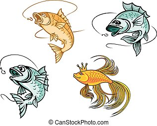Cartoon goldfish and fishes with hooks