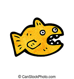 Cartoon goldfish. Black and white illustration of a goldfish.