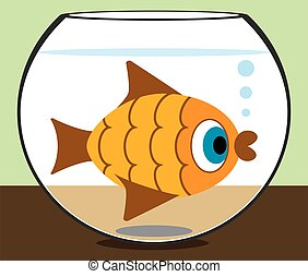 Cartoon Goldfish in Bowl