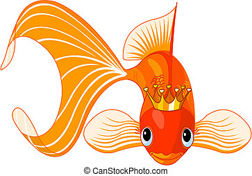 Cartoon Goldfish queen - Illustration of a happy beautiful...