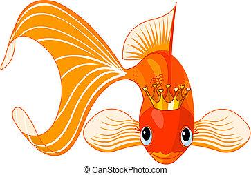 Cartoon Goldfish queen - Illustration of a happy beautiful ...