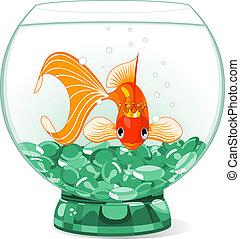 Illustration of a happy beautiful goldfish with tiara in the aquarium