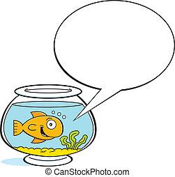 Cartoon goldfish with a caption bal - Cartoon illustration...