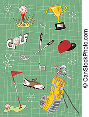 Cartoon golf icons set - Hand drawn golf icons set. Vector...