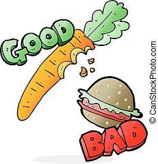 cartoon good and bad food - freehand drawn good and bad food