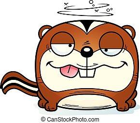 Cartoon Goofy Chipmunk - A cartoon illustration of a...
