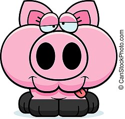 Cartoon Goofy Pig - A cartoon illustration of a little pig...