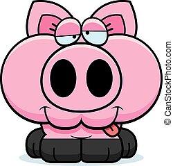 Cartoon Goofy Pig - A cartoon illustration of a little pig...