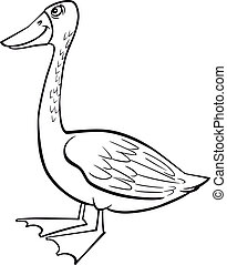 Cartoon goose coloring page - coloring page illustration of...