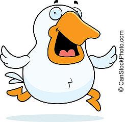 Cartoon Goose Running - A happy cartoon goose running and...