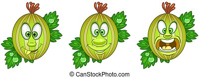 Cartoon Gooseberry. Fruit Food Collection