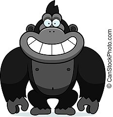 Cartoon Gorilla Grin - A cartoon illustration of a gorilla...