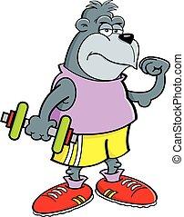 Cartoon Gorilla Holding a Dumbbell