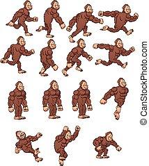 Cartoon gorilla, ready for animation. Vector clip art...