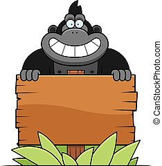 Cartoon Gorilla Sign - A cartoon illustration of a gorilla...