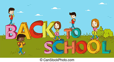 cartoon., gosses école, education, dos