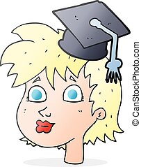 cartoon graduate woman