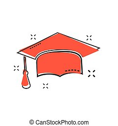 Cartoon graduation cap icon in comic style. Finish education sign illustration pictogram. Education business concept.