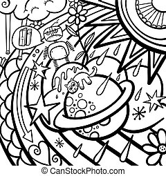 Cartoon Graffiti Rainbow Weather Doodle