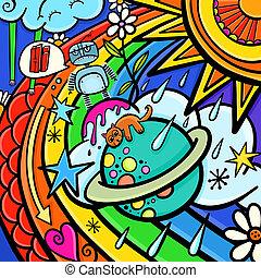 Cartoon Graffiti Weather Sky Scene