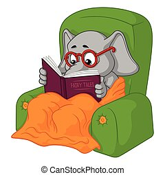 cartoon., grand, character., isolé, collection, reading., vecteur, elephants., elephant., chaise