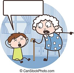Cartoon Grand Mother Scolding to Her Grandson Vector...