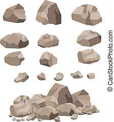 cartoon., grand, pierre, ensemble, rocher