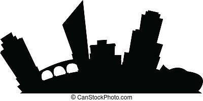 Cartoon Grand Rapids - Cartoon skyline silhouette of the...
