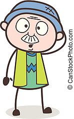 Cartoon Granddad Shocking Face Vector Illustration