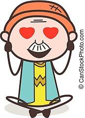Cartoon Granddad Smiling Face with Heart-Eyes Vector Illustration