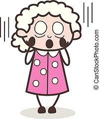 Cartoon Grandma Face Screaming in Fear Vector Illustration