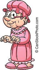 Cartoon grandma wearing pajamas. Vector clip art...