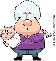 Cartoon Grandma with Angry Baby