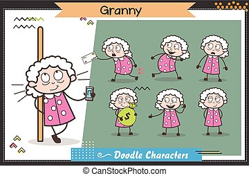 Cartoon Grandmother Various Expressions and Poses Vector Set
