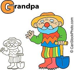 Cartoon Grandpa. Coloring book page