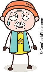 Cartoon Grandpa Disappointed But Relieved Face Expression