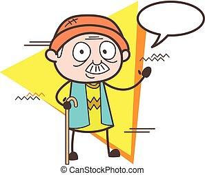 Cartoon Grandpa Message Vector Illustration