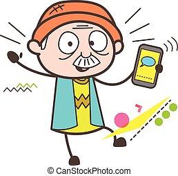 Cartoon Grandpa Messaging Vector Illustration