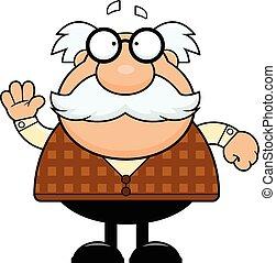 Cartoon Grandpa Waving